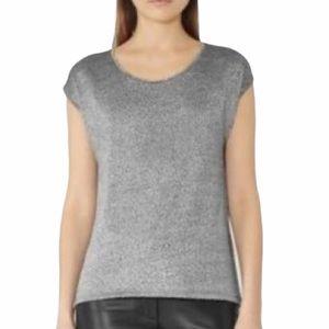 Reiss Zona grey space dye short sleeve top size M